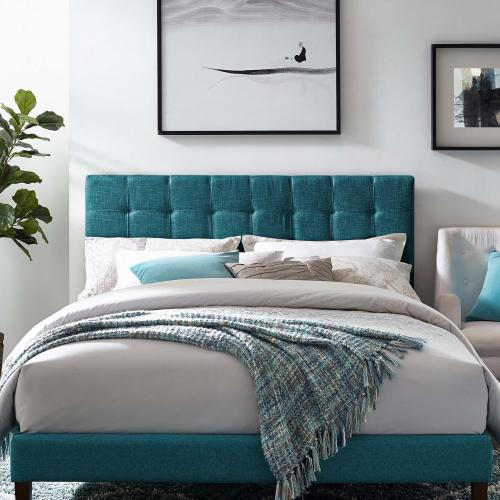 Paisley Tufted Full / Queen Upholstered Linen Fabric Headboard in Teal