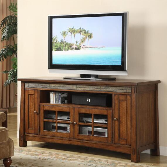 Riverside - Craftsman Home - 62-inch TV Console - Americana Oak Finish