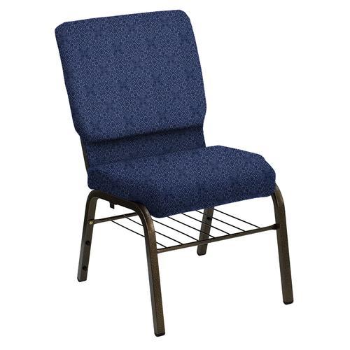 Flash Furniture - HERCULES Series 18.5''W Church Chair in Faith Blue Fabric with Book Rack - Gold Vein Frame