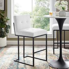 Privy Black Stainless Steel Upholstered Fabric Bar Stool in Black White