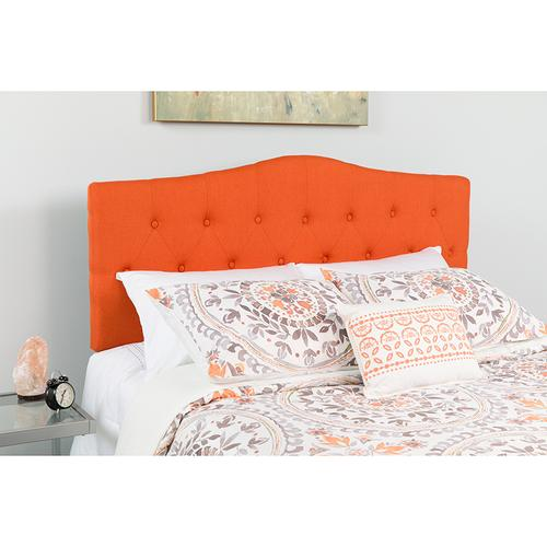 Cambridge Tufted Upholstered King Size Headboard in Orange Fabric