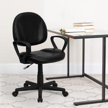 View Product - Mid-Back Black LeatherSoft Swivel Ergonomic Task Office Chair with Back Depth Adjustment and Arms