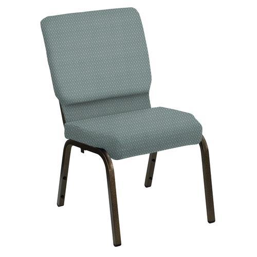 Flash Furniture - HERCULES Series 18.5''W Church Chair in Bedford Seaside Fabric - Gold Vein Frame