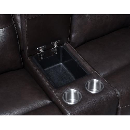 Fortuna Dual-Power Reclining Console Loveseat, Coffee