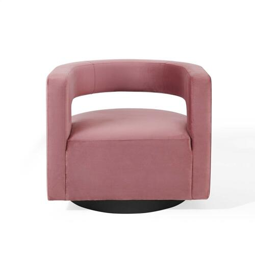 Spin Cutaway Performance Velvet Swivel Armchair in Dusty Rose