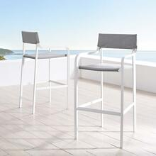 Raleigh Outdoor Patio Aluminum Bar Stool Set of 2 in White Gray