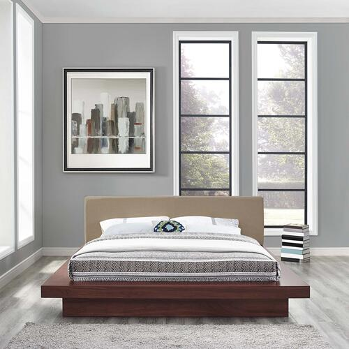 Modway - Freja Queen Fabric Platform Bed in Walnut Latte