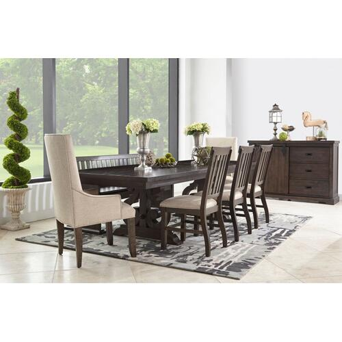 Stone Dining Table with 6 Side Chairs