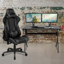 See Details - Black Gaming Desk and Gray\/Black Reclining Gaming Chair Set with Cup Holder, Headphone Hook & 2 Wire Management Holes