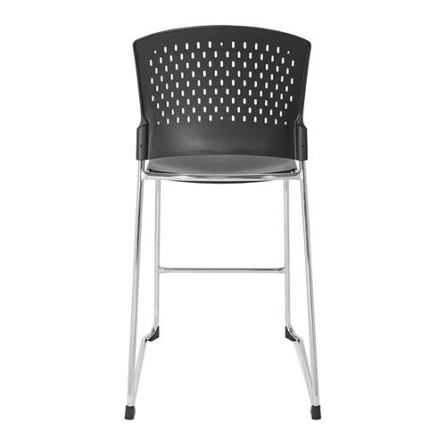 Tall Stacking Chair With Plastic Seat and Back and Chrome Frame 4-pack