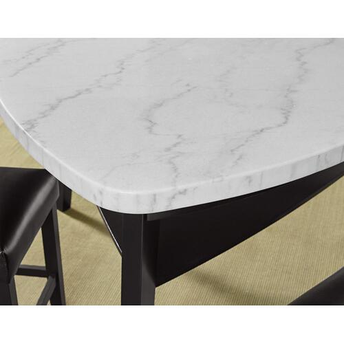 Carrara 6 Piece Triangular Marble Top Counter Table(Counter Table, 4 Counter Chairs & Storage Counter Bench)