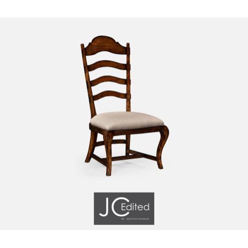 Rustic walnut dining side chair