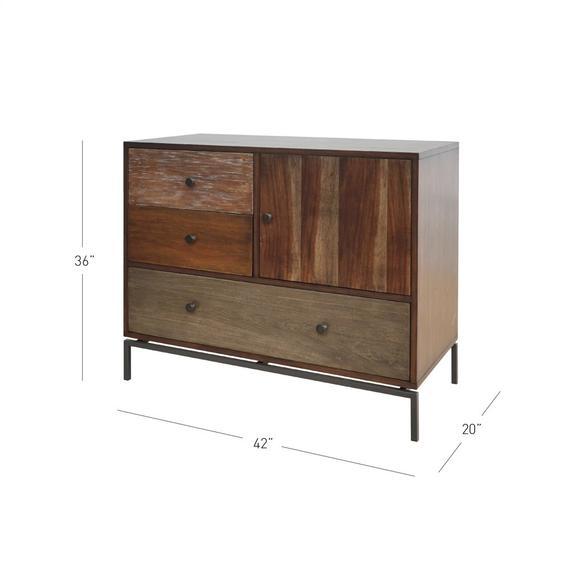 New Ari KD Cabinet 1 Door + 3 Drawers, Rustic Natural