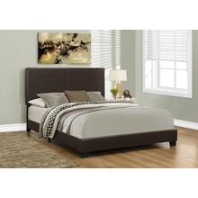 BED - QUEEN SIZE / DARK BROWN LEATHER-LOOK