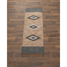 Brown & Blue Diamond Leather Chindi 2' x 6' Rug. Each One Will Vary.
