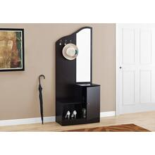 "HALL TREE - 75""H / ESPRESSO STORAGE UNIT / MIRROR"