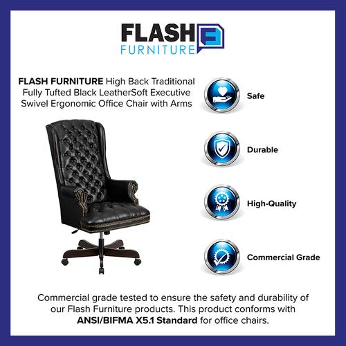 Gallery - High Back Traditional Fully Tufted Black LeatherSoft Executive Swivel Ergonomic Office Chair with Arms