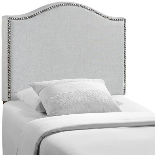 Curl Twin Nailhead Upholstered Headboard in Sky Gray
