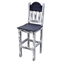 White Scraped Wood Seat