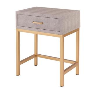 Durham Faux Shagreen End Table 1 Drawer, Chronicle Gray *