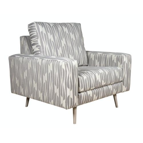 """Capris Furniture - Contemparary style wide track arm chair and a half. Shown with 8"""" Pyramid legs. Also available with 8"""" Tapered round, 8"""" Plinth base, or 8"""" Square tube legs."""