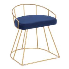 Canary Vanity Stool - Gold Metal, Blue Velvet