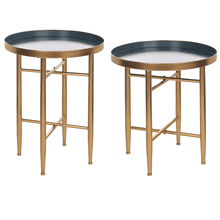 Hammered Blue & Gold Side Table (2 pc. set)