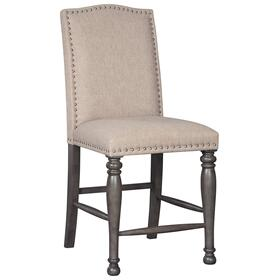 Audberry Upholstered Barstool Dark Gray
