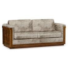 See Details - 86'' Antique Mahogany Brown High Lustre Sofa, Upholstered in Calico Velvet