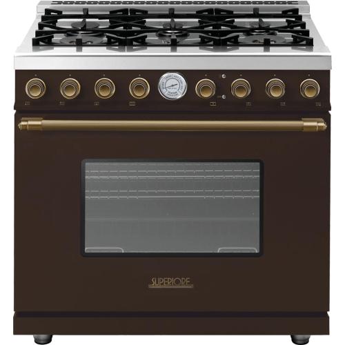 Range DECO 36'' Classic Brown matte, Bronze 6 gas, gas oven