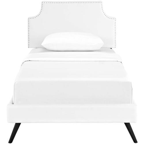 Modway - Corene Twin Vinyl Platform Bed with Round Splayed Legs in White