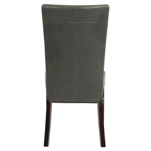 Milton Bonded Leather Dining Side Chair Wenge Legs, Vintage Gray