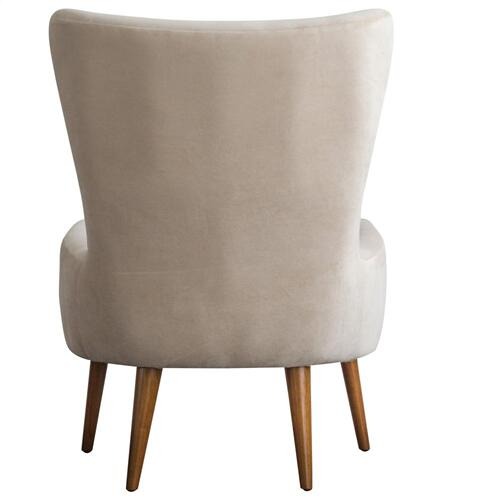 Arya KD Velvet Fabric Accent Chair Wooden Legs, Buckwheat Beige