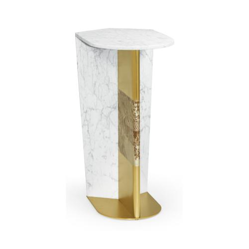 Fusion White Marble & Brass End Table