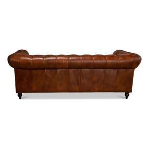 Tufted English Club Sofa, Brown Leather