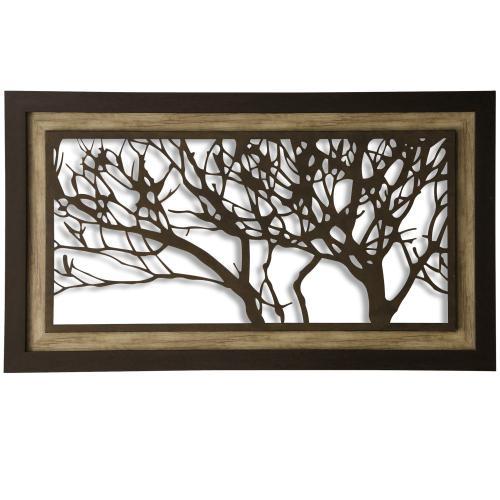 Metal Laser Cut Tree I  2-Step Framed Panel