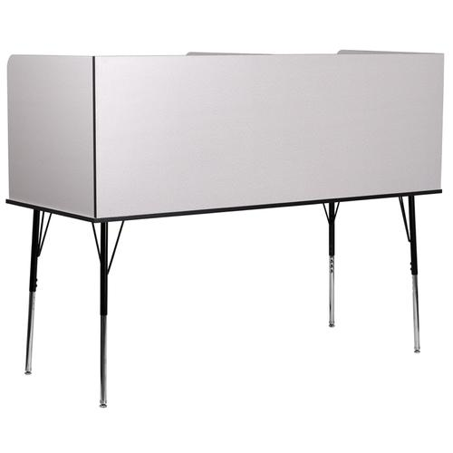 Flash Furniture - Double Wide Study Carrel with Adjustable Legs and Top Shelf in Nebula Grey Finish