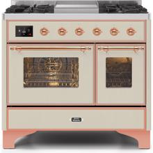 Majestic II 40 Inch Dual Fuel Natural Gas Freestanding Range in Antique White with Copper Trim