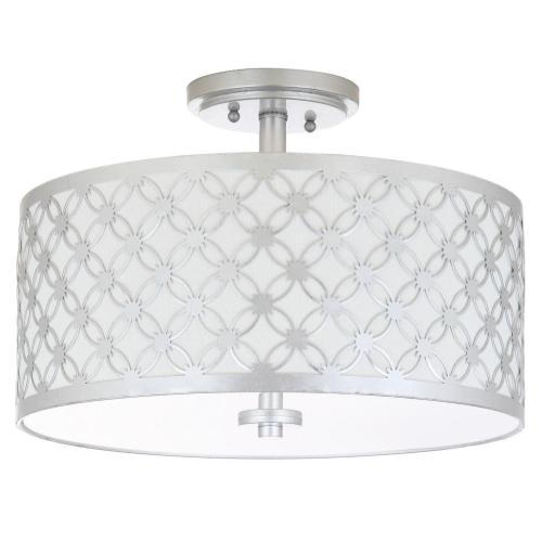 Hutch 3 Light 16-inch Dia Silver Flush Mount - Silver