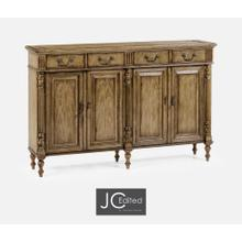 Double Narrow Medium Driftwood Cabinet with Twin Cupboards