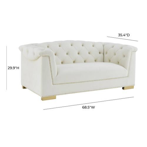 Tov Furniture - Farah Cream Velvet Loveseat by Inspire Me! Home Decor