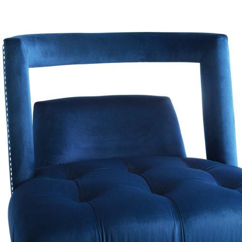 Honor Accent Lounge Performance Velvet Armchair in Navy