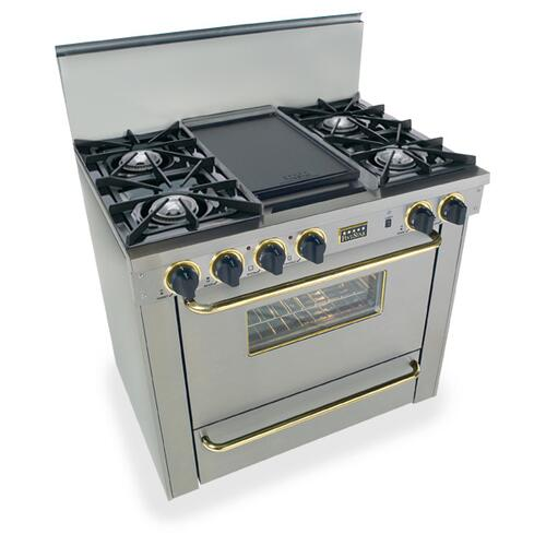 """Five Star - 36"""" All Gas Range, Open Burners, Stainless Steel with Brass"""