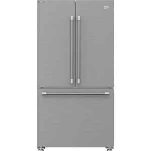 "Beko36"" French Three-Door Stainless Steel Refrigerator with auto Ice Maker, Water Dispenser"
