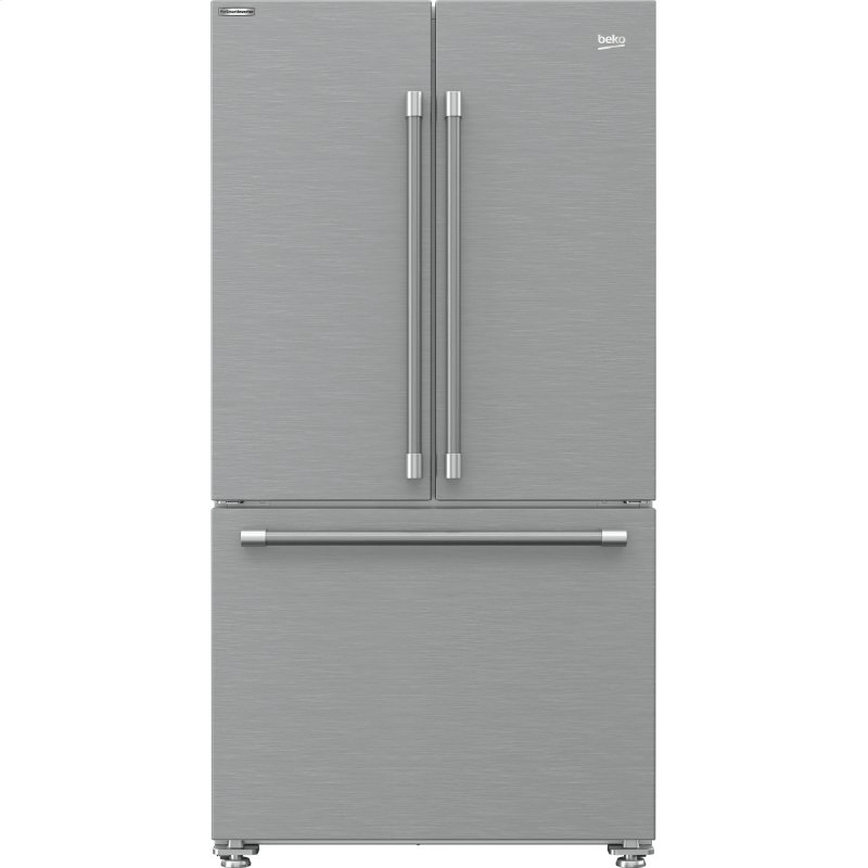 """36"""" French Three-Door Stainless Steel Refrigerator with auto Ice Maker, Water Dispenser"""