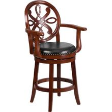 26'' High Cherry Wood Counter Height Stool with Arms, Carved Back and Black LeatherSoft Swivel Seat