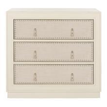 See Details - Lupita 3 Drawer Chest - Antique Beige / Beige Linen / Nickel