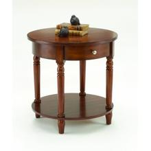 See Details - Cherry Round Accent Table with Drawer