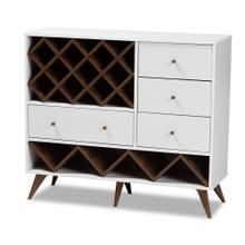 See Details - Baxton Studio Savino Mid-Century Modern White and Walnut Finished Wood Wine Cabinet