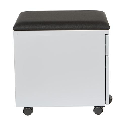 "Mobile Box/file Pedestal With Cushion, 22""d, Silver Finish / Black Fabric"